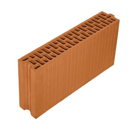 Porotherm 10 N+F Profi tégla 10 cm vastag lakáson belüli válaszfal építésére alkalmas, csiszolt falazóelem.