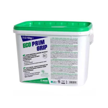 Mapei ECO PRIM GRIP - Nagyon alacsony illékony szervesanyag kibocsátású (VOC), akrilgyanta-bázisú, felhasználásra kész, általános használatú, szilikahomok tartalmú diszperziós alapozó, amely különösen alkalmas vakolatokhoz, aljzatkiegyenlítő simítóanyagokhoz és hidegburkolati ragasztóhabarcsokhoz.