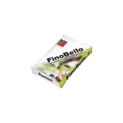 Baumit FinoBello (gipszes glettanyag 0-10 mm-es vastagságban) Beltéri fehér univerzális kézi gipszes glettanyag 0–10 mm-es vastagságban. Optimális választás mész-cement, cement- és gipszes vakolatokra, betonfelületekre, gipszkartonszerkezetek hézagkitöltésére (üvegszövet hézagerősítő szalaggal) és teljes felületére.