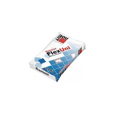 Baumit Baumacol FlexUni (Baumacol FlexUni) Cementbázisú, víz- és fagyálló, flexibilis, hő- és statikai terhelésnek ellenálló, vékonyágyas burkolatragasztó anyag, csempék és mázas kerámialapok, greslapok, kőporcelánlapok és mozaikok ragasztására fokozott igénybevételű alapfelületeken, pl. padlófűtés, kenhető vízszigetelés, erkélyek, teraszok, medencék. Nagyobb méretű lapok esetén is ajánlott, kül- és beltéri felületeken.