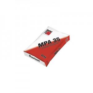 Baumit MPA 35 (GV 35) Mész-cement gépi vakolat külső és belső felhasználásra. Dörzsölve vagy alapvakolatként durván lehúzva. Külön simítóvakolat alkalmazása színes vékonyvakolatok felhordása előtt nem szükséges.