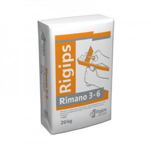 A Rimano gipszes vékonyvakolat 3-6 mm vastagságig kellősítő réteg nélkül felhordható, kizárólag beltérben alkalmazható. A bedolgozás nem igényel drága gépi berendezést, ugyanis kézzel vagy keverőszárral a szárazkeverék egyszerűen bekeverhető. A Rimano 3-6 egy finom vékonyvakolat relatív sík, nedvszívó felületek glettelésére. Megfelelő alapfelületek például a zsaluzott betonfelületek, vagy a gázbeton-szerkezetek.