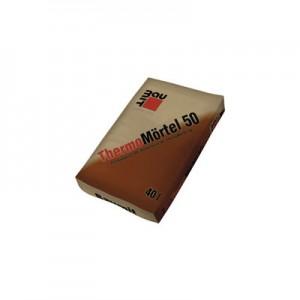 Baumit ThermoMörtel 50 (Thermohabarcs 50) Gyárilag kevert, duzzasztott perlitet tartalmazó hőszigetelő falazóhabarcs (MSZ EN szerint M5), hőszigetelő falazóelemek falazásához. Hővezetési tényező: 0,17 W/mK.