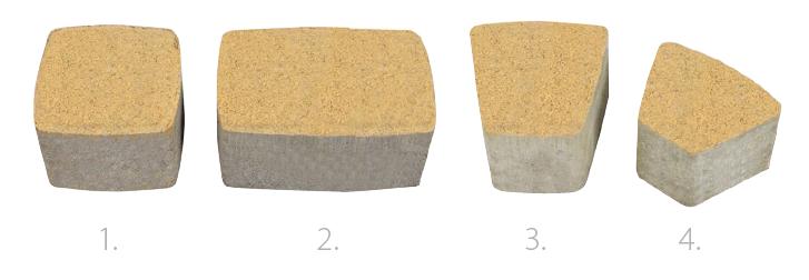 1. Kocka 11,2x11,2 cm 2. Tégla 11,2x17 cm 3. Nagykörív 11x11,4x7 cm 4. Kiskörív 11x8,6x5,5 cm Kővastagság: 8 cm